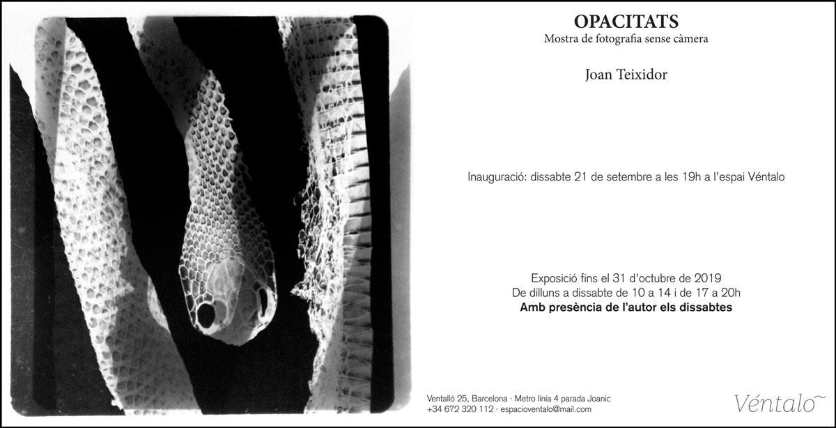 Joan Teixidor exposa Opacitats: Mostra de fotografia sense càmera