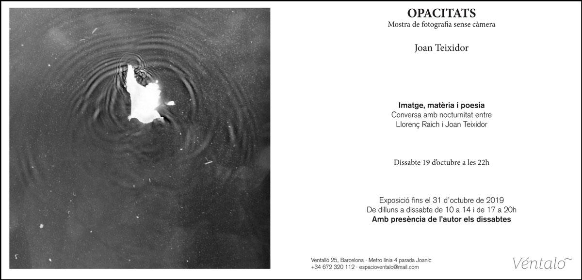 Imatge matèria i poesia Conversa amb nocturnitat Llorenç Raich i Joan Teixidor