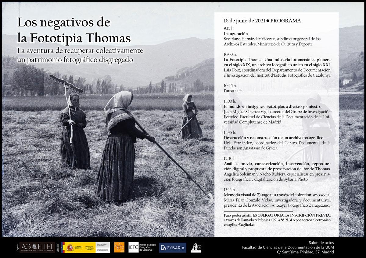 Programa Jornada Los negativos de la Fototipia Thomas